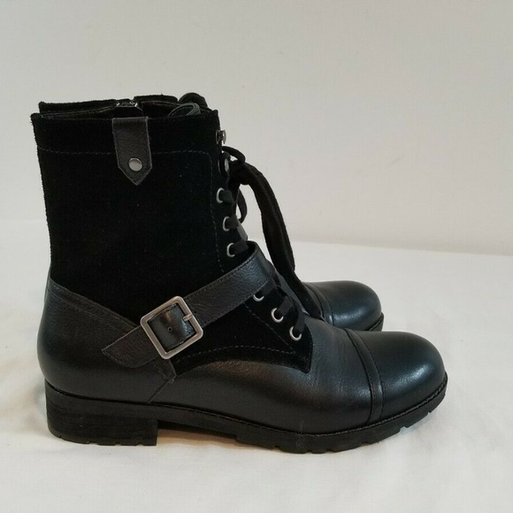 Abeo Dayton Boots 9 Womens Black Leather Zip Buckl